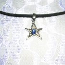 COOL SHAPED STAR w DARK BLUE GEM SILVER PEWTER PENDANT NECKLACE