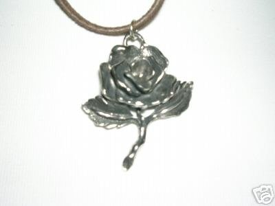 CAST PEWTER OPEN ROSE FLOWER OF LOVE PENDANT ADJ STRING NECKLACE