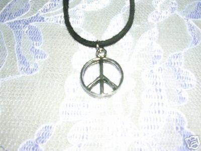 HIPPIE THICK SMALL PEACE SIGN PEWTER PENDANT ADJ STRING CORD NECKLACE