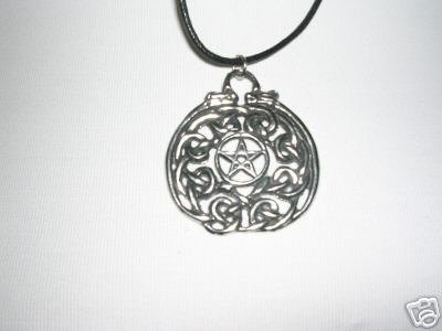 LARGE WICCA DESIGN PENTACLE STAR w DRAGONS CAST PEWTER PENDANT ADJ NECKLACE