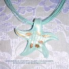 ELEGANT BABY BLUE STAR FISH w GOLD GLITTER SOLID GLASS PENDANT NECKLACE