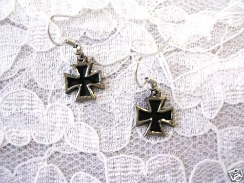 TINY IRON CROSS / MALTESE CROSS BLACK INLAY PEWTER PIERCED EARRINGS