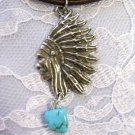 TRIBAL INDIAN CHIEF HEAD PROFILE w TUQUOISE NUGGET DANGLE PENDANT NECKLACE