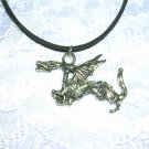 UNIQUE WICKED EVIL DRAGON PEWTER PENDANT ADJ NECKLACE