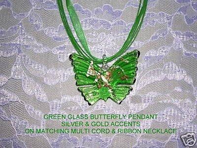 ELEGANT GREEN BUTTERFLY GLASS PENDANT JEWELRY ADJ CORD NECKLACE