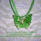 ELEGANT GREEN BUTTERFLY GLASS PENDANT JEWELRY ADJ CORD NECKLACE