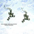 TROPICAL RAIN FOREST PEWTER CLIMBING TREE FROGS DANGLING FROG CAHRM EARRINGS