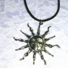 XL HUGE FLAMING SUN STAR w FACE & RAYS USA CAST PEWTER PENDANT NECKLACE