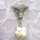 HAND ENGRAVED AMERICAN BUFFALO HEAD w CREAM TURQUOISE GEM PENDANT ADJ NECKLACE