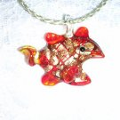 TROPICAL BEACH AQUARIUM REEF FISH GLASS PENDANT SILVER WEAVE NECKLACE