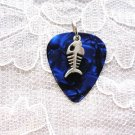 DARK BLUE GUITAR PICK PIRANHA FISH BONE CHARM PENDANT NECKLACE