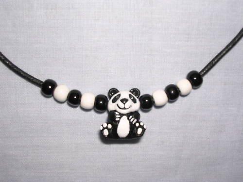 NEW ENDANGERED HAND PAINTED PANDA BEAR CERAMIC PENDANT & BEADED ADJ NECKLACE