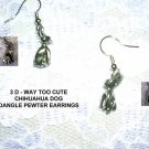 NEW CUTE 3 D CHIHUAHUA DOG DANGLE PEWTER DOGS EARRINGS