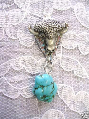 HAND ENGRAVED SPIRIT BISON / BUFFALO HEAD w BLUE TURQUOISE GEM PENDANT NECKLACE