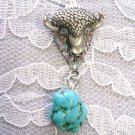 HAND ENGRAVED SPIRIT BISON / BUFFALO HEAD w BLUE TURQUOISE GEM PENDANT NECKLACE