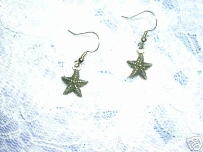 NEW STARFISH OCEAN LIFE DANGLING USA PEWTER CHARM EARRINGS JEWELRY