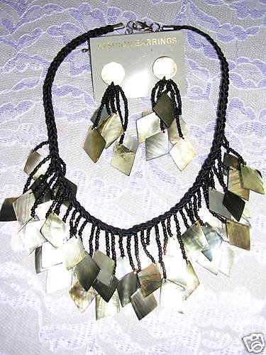 DARK SHADE MOTHER OF PEARL NECKLACE & EARRINGS JEWELRY SET