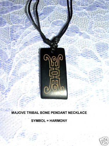 LASER ENGRAVED MOJAVE TRIBAL SYMBOL FOR HARMONY PENDANT ADJ NECKLACE