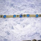 HAND MADE BRIGHT BLUE GLASS BEADS WOVEN CHOKER BEACH SURF NECKLACE OR ANKLET WRAP