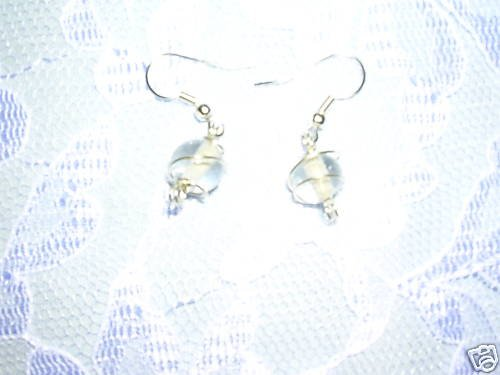 COOL CLEAR WIRE WRAPPED GLASS EARRINGS BEADS JEWELRY