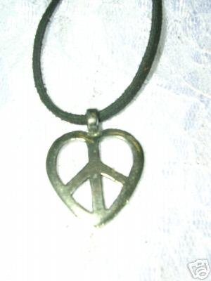 NEW HIPPIE HEART PEACE SIGN PEWTER PENDANT ADJ STRING CORD NECKLACE