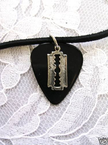REAL JET BLACK GUITAR PICK w SMALL PEWTER RAZOR BLADE CHARM PENDANT ADJ CORD NECKLACE