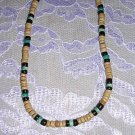 "TAN BLACK TURQUOISE BLUE COCO BEADS 18"" BEAD NECKLACE"