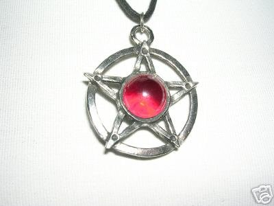 LARGE PENTACLE STAR RED ORB BALL CENTER PEWTER PENDANT ADJ NECKLACE