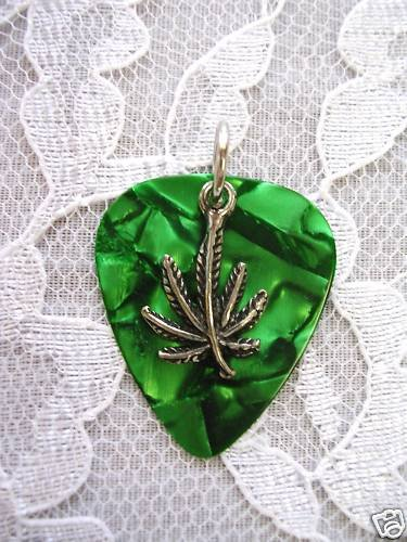 NEW DEEP GREEN GUITAR PICK with PEWTER POT LEAF CHARM PENDANT NECKLACE