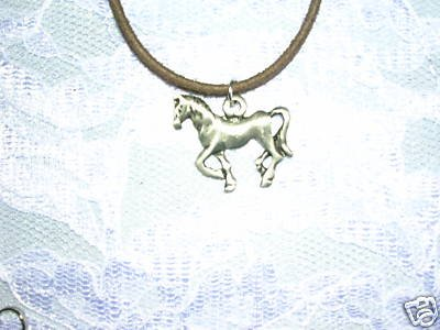 "FULL BODY BRUSHED PEWTER TENNESSEE WALKER HORSE PONY BROWN 18"" NECKLACE"