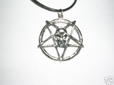 EVIL SKULL ON SATANIC PENTAGRAM USA PEWTER PENDANT ADJ NECKLACE