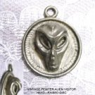 NEW VINTAGE RAISED ALIEN HEAD EVIL GRAY ON ROUND DISC PEWTER PENDANT NECKLACE