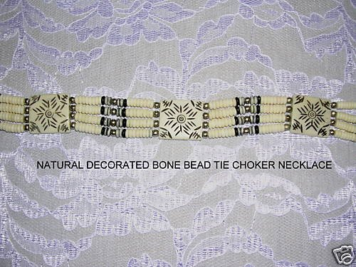 WHITE & BROWN CARVED TARGET DESIGN BONE BEAD TIE ON CHOKER NECKLACE