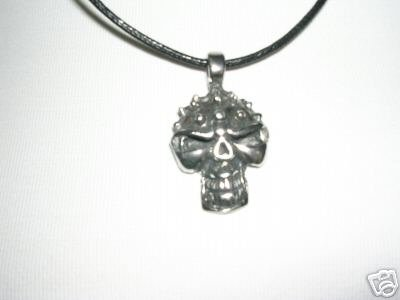 NEW WILD RIDE ON SPIKE HEAD BIKER SKULL PEWTER PENDANT ADJ CORD NECKLACE
