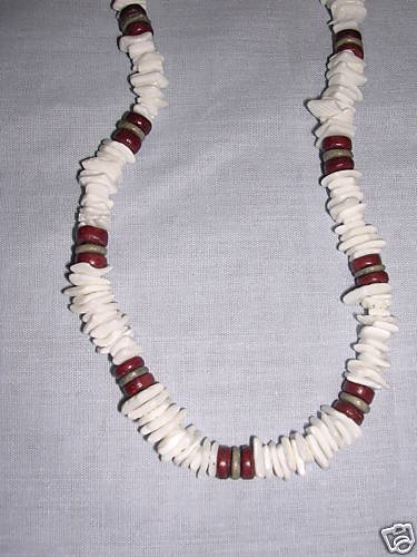 """REAL WHITE PUKA SHELL PIECE BEADS & WOOD COCO BEADS 18"""" SURFER NECKLACE"""
