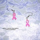 NEW PINK RIBBON EMBLEM FIGHT BREAST CANCER EARRINGS