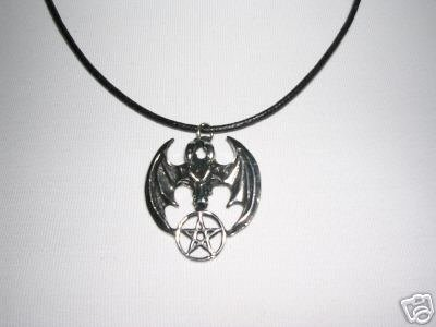 DRAGON HEAD WINGS with PENTACLE STAR WICCA PEWTER PENDANT ADJ CORD NECKLACE