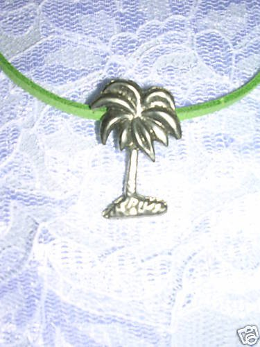 BEACH ISLAND FUN TROPICAL PALM TREE SILVER PEWTER PENDANT NECKLACE