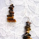 NEW TIGER EYE GEMSTONE FREEFORM CHIPS DANGLING STONE JEWELRY EARRINGS
