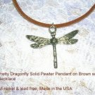 NEW NATURE LOVER DETAILED DRAGONFLY PEWTER PENDANT ADJ STRING NECKLACE