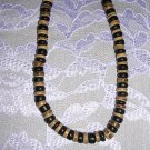 "LARGE BROWN TAN & BLACK COCO SURF BEADS 18"" NECKLACE"