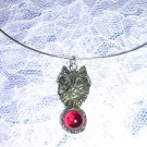 WILD WICCA NIGHT WOLF HEAD w RED GLASS ORB USA PEWTER PENDANT ADJ STRING NECKLACE