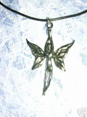 NYMPH PIXIE FAIRY w BUTTERFLY WINGS SILVER PEWTER PENDANT ADJ NECKLACE