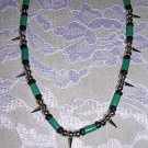 SPIKE BEADS WITH BLUE WOOD BEAD NECKLACE / SPIKED HEAVY METAL STYLE