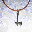 "AMERICAN NATIVE SPIRIT TOMAHAWK HATCHET CAST USA PEWTER PENDANT 20"" SUEDE CORD NECKLACE"