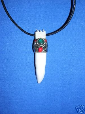 SALE HAND CARVED WHITE BONE TOOTH w TURQUOISE GEM PENDANT ADJ NECKLACE