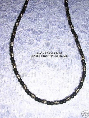 BLACK BEADS with BARREL BEADED NECKLACE URBAN WEAR JEWELRY