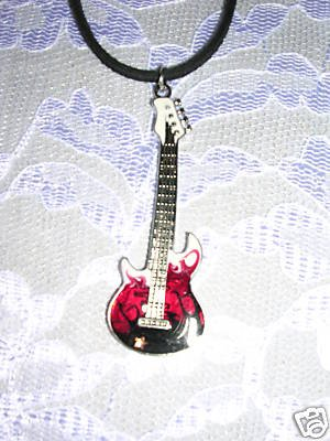 ROCKER HEAVY METAL ELECTRIC GUITAR RED & BLACK PENDANT ADJ STRING CORD NECKLACE