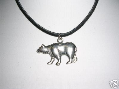 NEW WILDLIFE GRIZZLY BEAR SILVER PEWTER PENDANT ADJ CORD WILDLIFE ALASKA BEARS NECKLACE