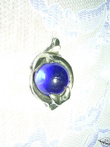 NEW 2 SHARKS - SHARK DEEP BLUE GEM BALL PEWTER PENDANT NECKLACE